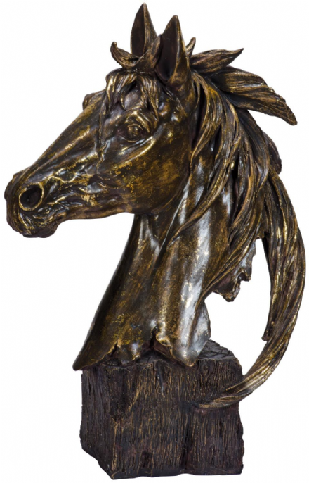 Gold Horses Head Bust Large Home Animal Wild Horse Ornament